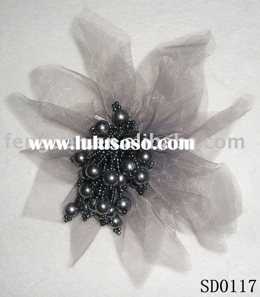 unique handmade organza brooches with beads and pearl pistils