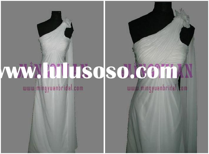 white chiffon flower on one shoulder real sample wedding bridal dress wr07