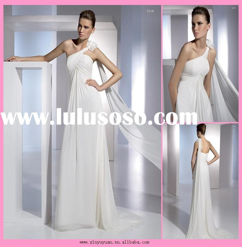 white chiffon one shoulder wedding gown bridal dresses ny374