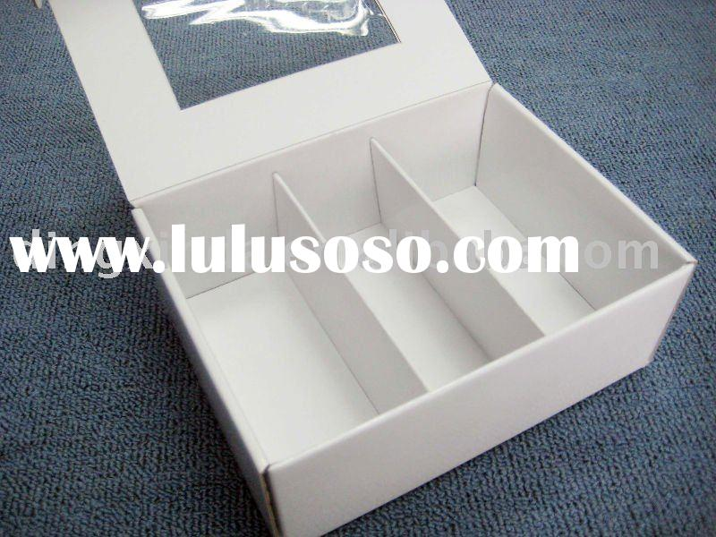 white paper packaging box with clear window and compartments