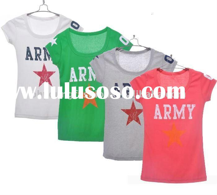 wholesale women's 100%cotton single jersey silk screen printing round neck short sleeve t sh
