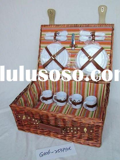 willow wicker picnic basket for 4 persons
