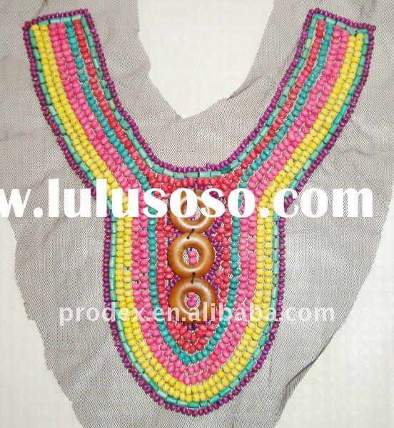 wooden bead lace neck design of blouse, cotton kurta neck designs