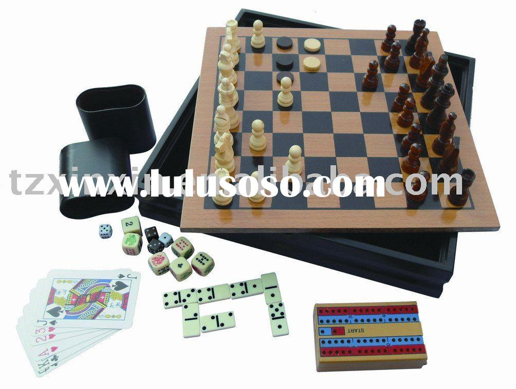 wooden game set 7 in 1 game set chess backgammon and checker 8669