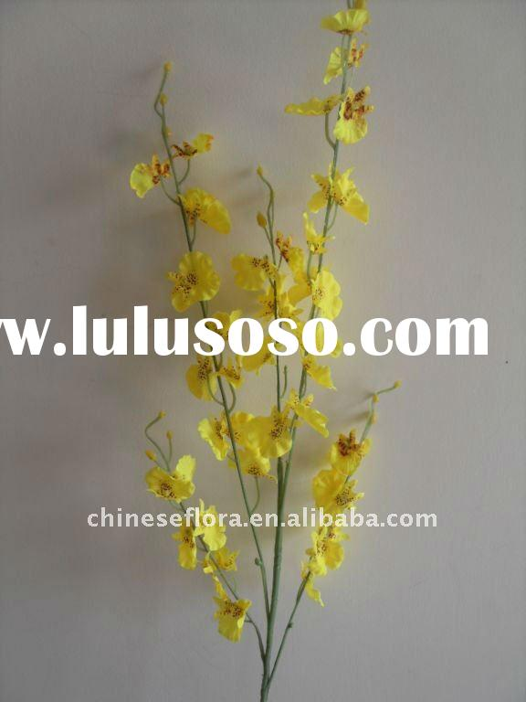 yellow handmade artificial fabric dancing lady orchid flower