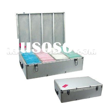 1000 DISC CD DVD LEATHER ALUMINUM CASE HOLDER DJ BOX CN