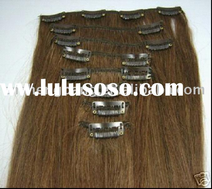 100% good quality human remy hair clip in hair extension