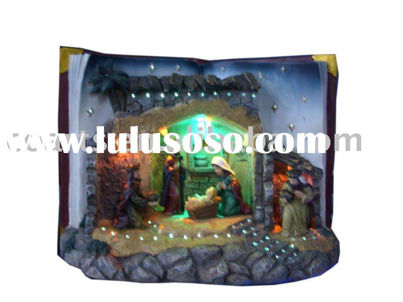 "10"" book-shape nativity set & small coconut tree with LED lighting"