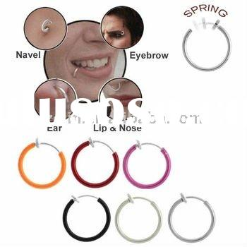 12 mm Fake Spring Hoop (Nose, Ear, Lips, Eyebrow, Belly Button) body piercing jewelry