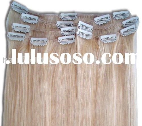 16 inch Clip In 100% Remy Human Hair Extensions #613 Blonde