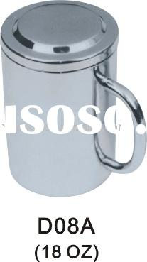 16oz,18oz Double Wall Stainless Steel Mug with Hollow Pipe Handle and Double Wall Lid