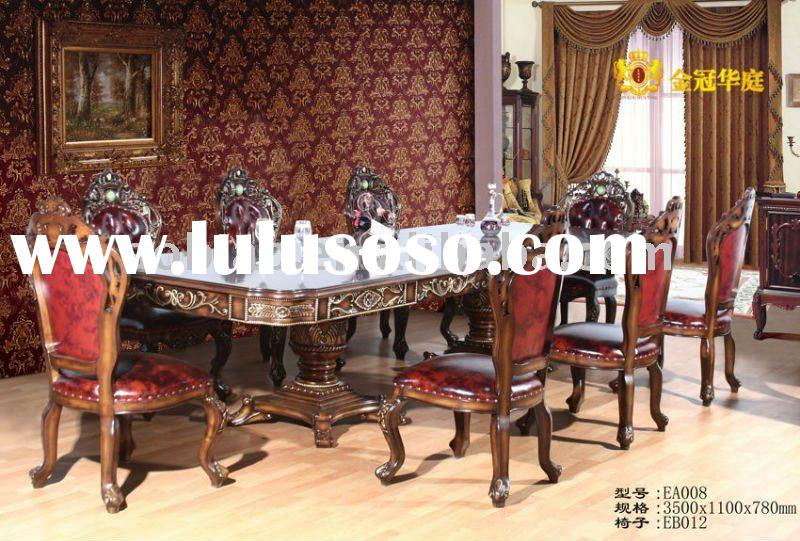 2011 New Classical Hand Carved Solid Wood Dining Furniture Set EA008/EB012