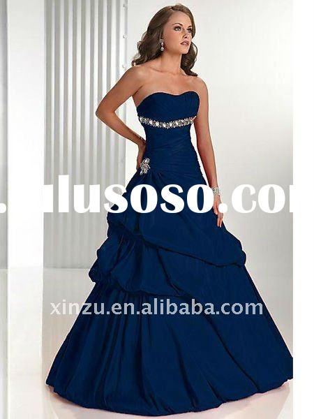 2011 New Style Royal Blue Strapless Tube Top Taffeta Floor Length Ball Gown Prom Dresses--PD2029