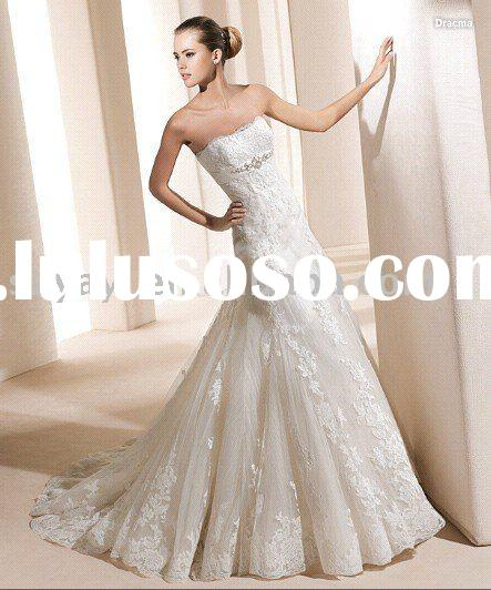 2011 New Style White Lace Strapless Floor Length A-Line Zip Up Wedding Dress L2031