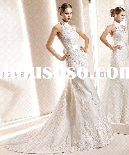 2011 Newest elegent popular backless sash bridal wedding dress wedding gown lace bridal dress L2032