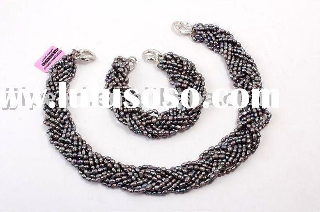 2011 fashion freshwater rice pearl necklace set