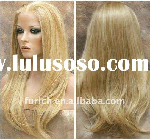 2011 new blond natural straight india human hair full lace wig accept paypal
