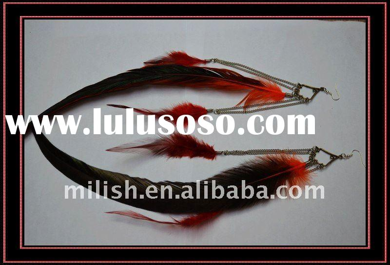 2011 newest wholesale fashion cheap long hoop feather earrings for women FHE-0336