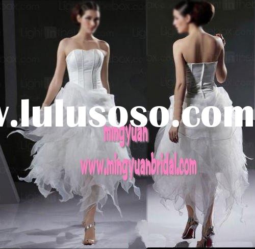 2011 sweetheart newest design short organza layered wedding dress