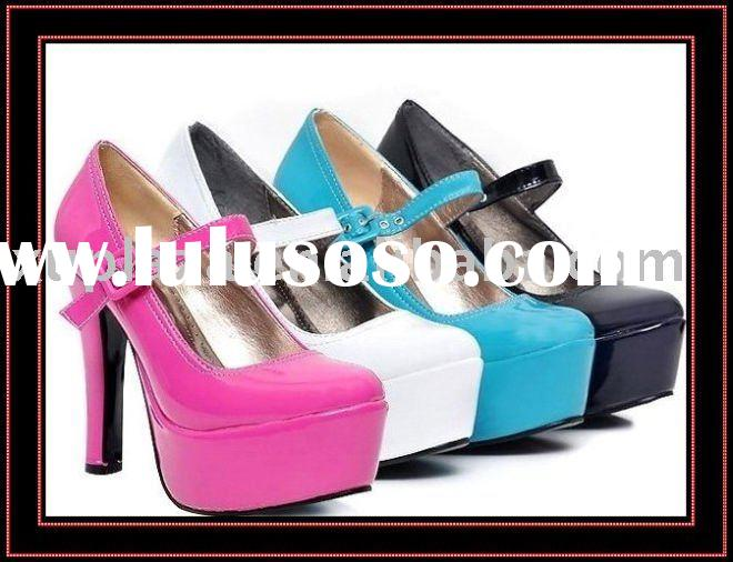 2012 New Simple High Heel Women 3cm Pumps Wholesale shoes Women shoes Black White Pink Blue US4~8.5