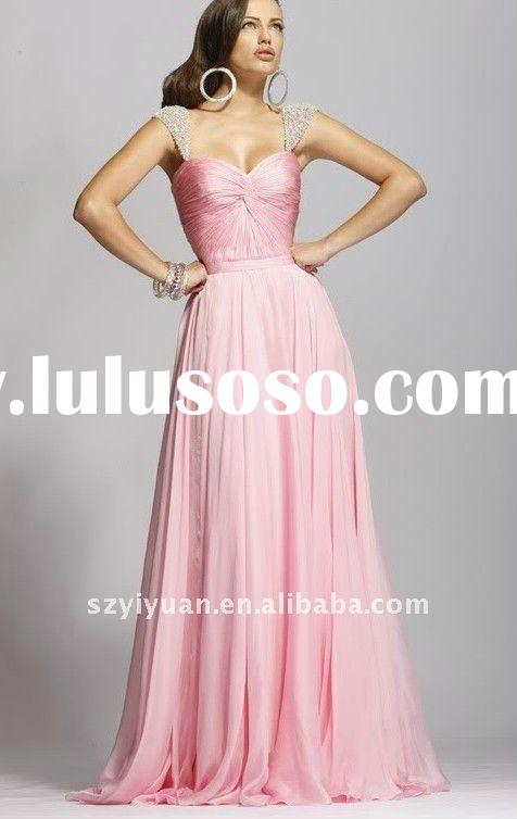 2012 new style beads crystal pink chiffon long evening dress