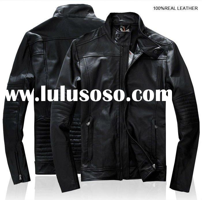 2012 new style mens fashion men leather jacket with fur collar