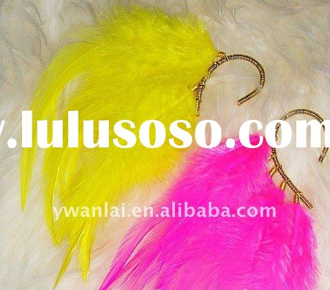 2012 trendy high fashion jewelry natural feather earwrap no piercing earrings factory direct