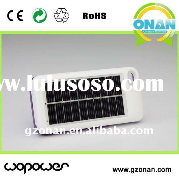 2400mAh capacity external solar power pack battery charger case for iphone 4