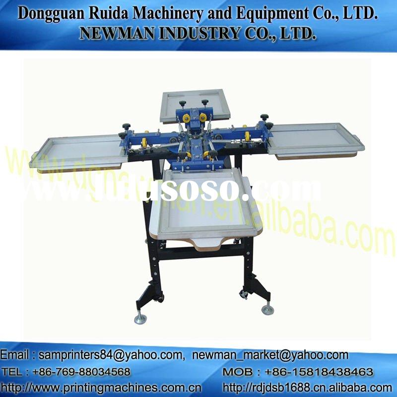 4 color 4 station screen printing machine press