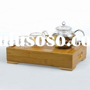 4-piece Tea Pot Set with Glass Cups and Bamboo Tray