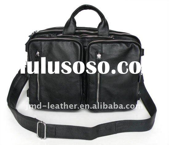 7041A Genuine Leather Men's Black Travel Laptop Bag Backpack