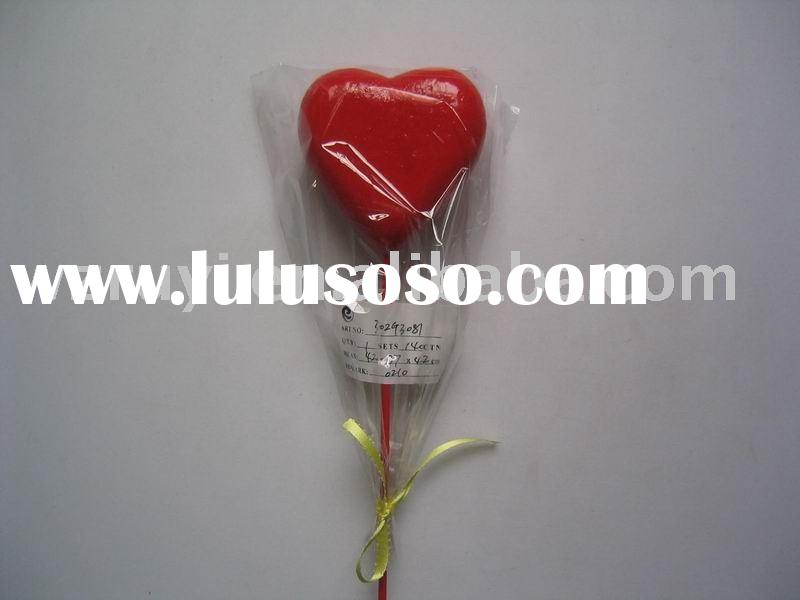 8.5x3cm red heart on 28cm stick