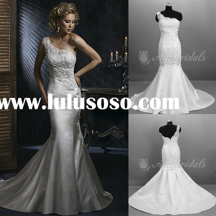 AM913 One Shoulder Beaded Lace Mermaid Wedding Dress