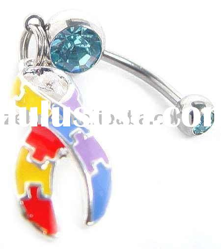 AUTISM PUZZLE RIBBLE BELLY NAVEL button Ring,navel jewelry,body jewelry
