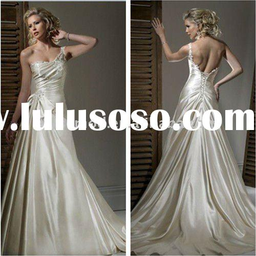 A-line Gown One-Shoulder Neckline Satin Beaded Bow Chapel Train Custom Made Wedding Dress