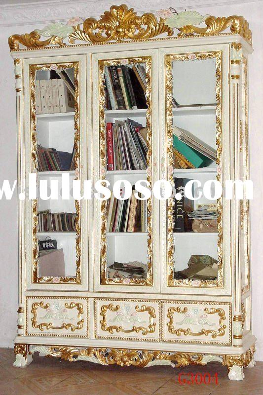 Antique office furniture,wooden bookcase,bookshelf, hand carving,gold colour