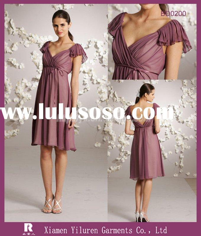 BD0200 - 2010 New Style Fashion Emprie V Neck Casual Short Sleeve Short Bridesmaid Dresses / Bridesm