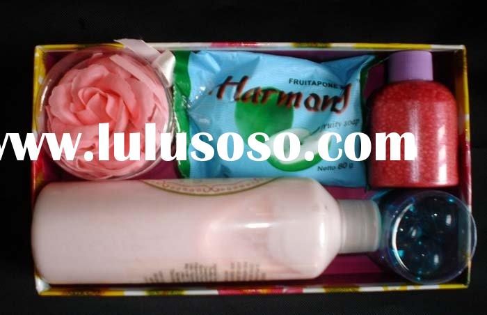 Bath gift set:soap rose+bath soap+body lotion+bath salt+bath beads
