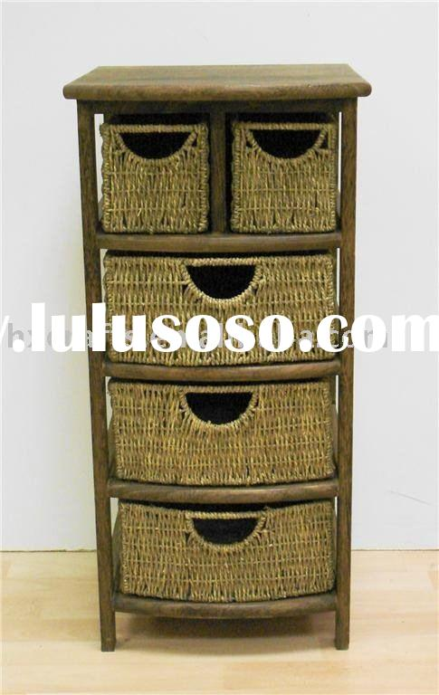 CHEST OF DRAWERS WOODEN SEAGRASS STORAGE BATHROOM FURNITURE