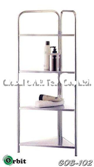 Corner Stand- 4 tier, bathroom shelves, metal rack, home furniture, houseware