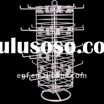 Countertop Rotating Metal Jewelry Tree Display Stand with Pigtail Sign Holder