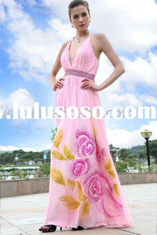 D30189 fashion lady chiffon maxi pink evening dress