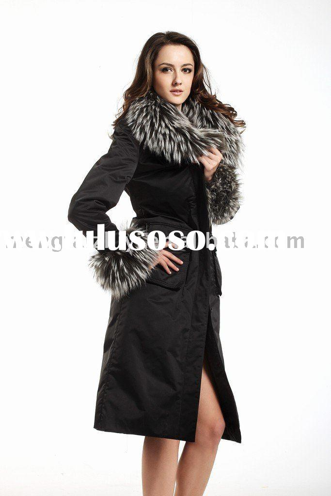 DN&GR women fashion fur coat, rabbit rex liner,fox collar, fur overcoat