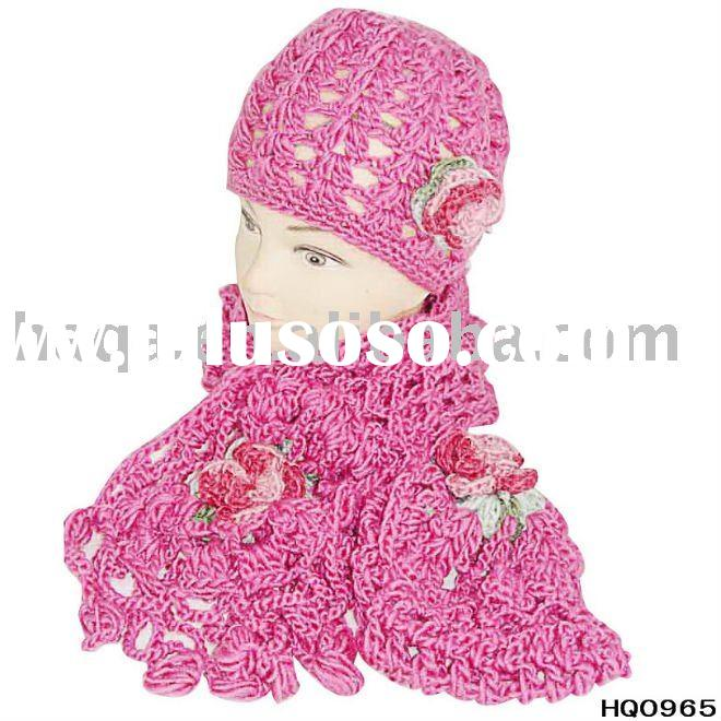 Fancy handmade flower hat and scarf sets