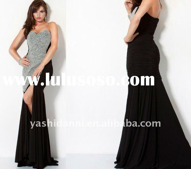 Free shipping! hot sale! strapless front short back long beaded evening dress 2012