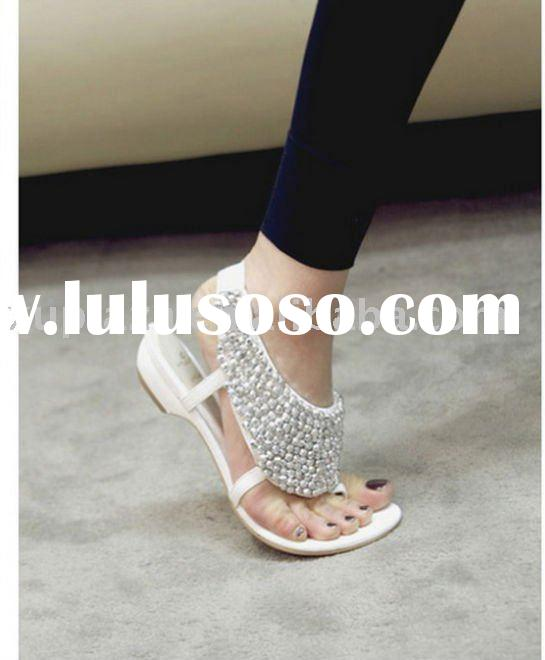 Fshion 2011 New shiny white crytal stud studded women summer Sandals Shoes US size 5.5/35~US9/40