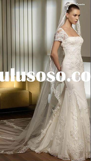 Fully Lace Gorgeous Satin and Tulle Bridal Gown,Wedding Dress,SH641
