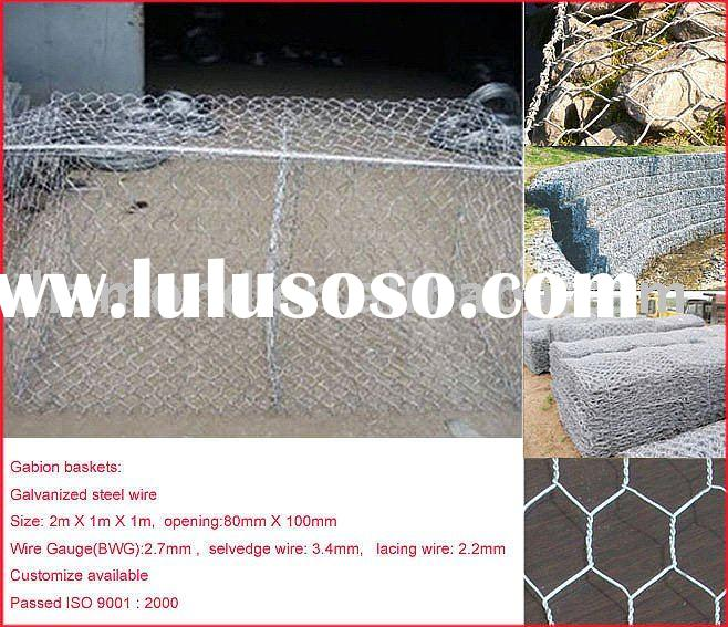 Gabion baskets make of galvanized steel wire with mesh opening 80mm X 100mm
