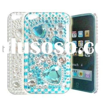 Glaring Blue Transparent Heart Bling Rhinestone Hard Case for iPod 4 Touch