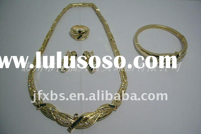 Gold Plated with natural zircon Jewelry sets, fashion gem jewelry JST0004